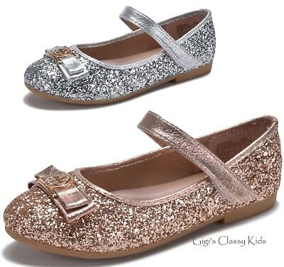 Silver Flats For Wedding.New Girls Rose Gold Silver Flats Metallic Glitter Dress Shoes Wedding Kids Party