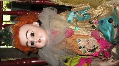 Antique German Bisque Clown Doll Original Costume Very Unique beautiful face