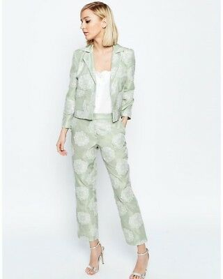 Mint and Ivory Wedding outfit - jacket, trousers and cami size 10