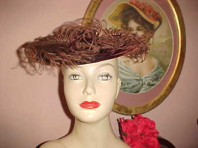 Vintage 40s Hat Brown Velvet & Fluffy Feathers CARRIAGE Rest Style Chic