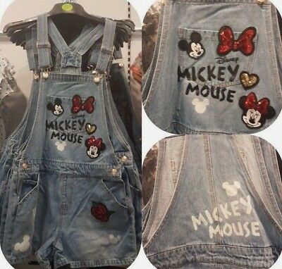 Disney Minnie & Mickey Mouse Festival Denim Dungaree Romper Playsuit UK 6-20