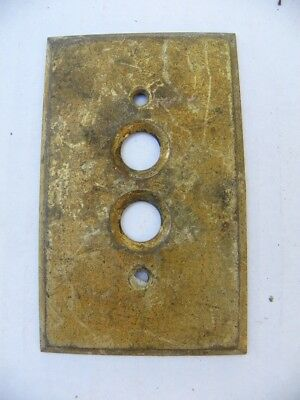 Vintage Antique Solid Brass Push Button Light Switch Plate Cover