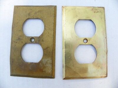 Vintage Antique Solid Brass Outlet, Receptacle, Duplex Plate Cover