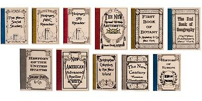 Dollhouse Miniature Books, Schoolbooks, Antique Look, Set of 11 #NI184