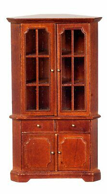 Dollhouse Miniature Mission Corner Cabinet, Walnut Finish #JJ06003WN