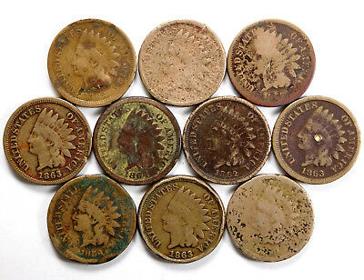 1856 - 1864 Indian Head Cent Lot - 10 Coins Total