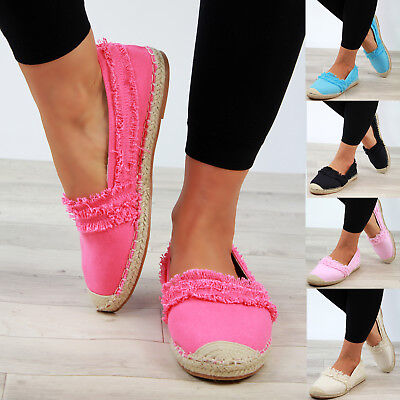 New Womens Slip On Espadrilles Flat Canvas Sandals Comfy Ladies Shoes Sizes 3-8