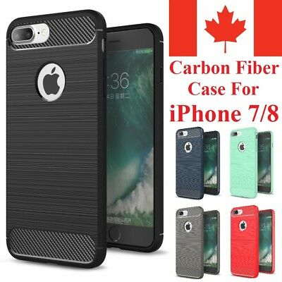 For iPhone 7 Case & iPhone 8 Case - Shockproof Carbon Fiber Soft TPU Armor Cover