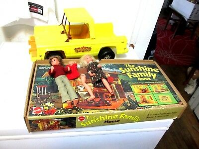 1973 Mattel The Sunshine Family Home; Original Box Accessories  with Jeep Truck