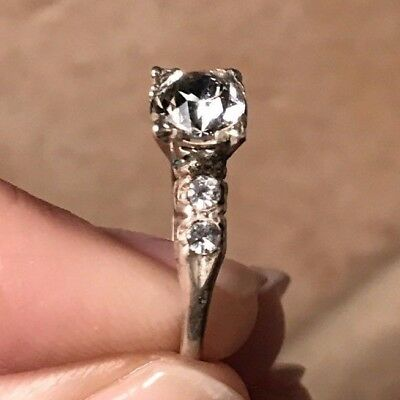 Antique Vtg Estate Ring Art Deco Wedding Statement Sterling Silver High Qual CZs
