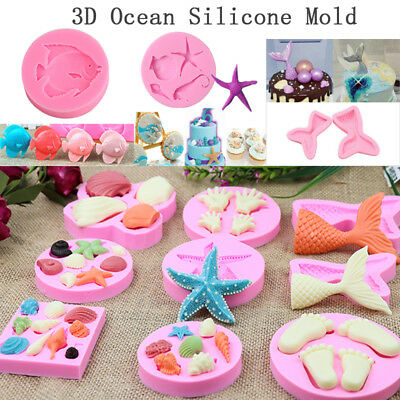 3D Silicone Ocean Sea Mold Fondant Chocaolate Candy Baking Cake Decor Mould Tool