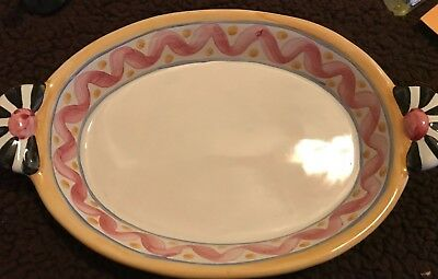 """Mackenzie Childs Picadilly Oval Baking Dish with Handles AuGratin Bowl 14"""""""