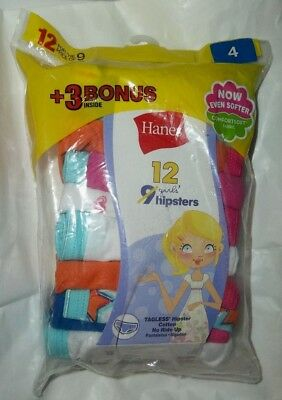 nip-12 Pack Hanes Girls' No Ride Up Cotton Tagless Hipster-underwear-Size 4-b