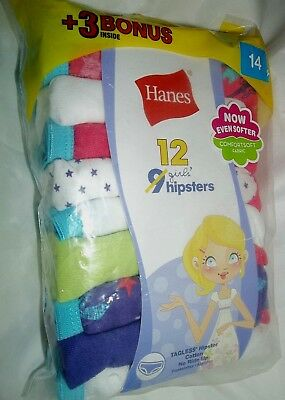 nip-12 Pack Hanes Girls' No Ride Up Cotton Tagless HIPSTER-underwear-Size 14 c