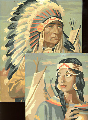 Pair Vintage Paint by Number Paintings Native American Indians Chief and Woman