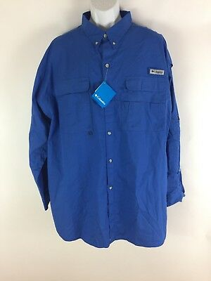 Mens blue Columbia PFG long sleeve vented fishing shirt Size 2XL New with tags