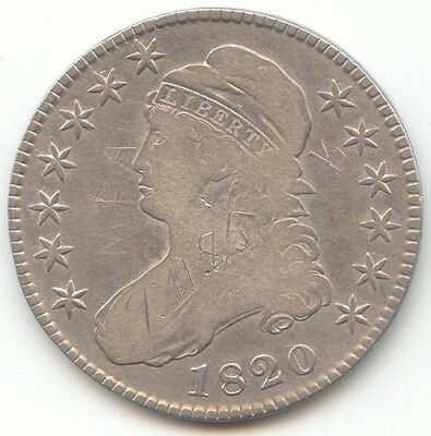 1820 Capped Bust Half Dollar, F-VF Details, True Auction, No Reserve