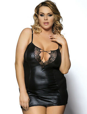 Sexy Leather Look Lingerie Babydoll