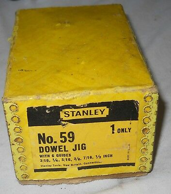 Vintage USA Made Stanly Dowel Jig No. 59 w/6 Guides Wood Working
