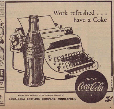 1947 newspaper ad for Coca-Cola - Coke bottle & typewriter, Work Refreshed