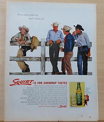 1962 magazine ad for Squirt Soda - tenderfoot & cowboys, for Grownup tastes