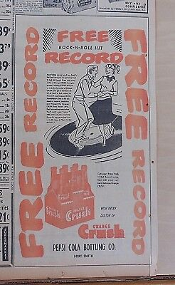 Large 1957 newspaper ad for Orange Crush Soda - Rock-N-Roll Record giveaway ad