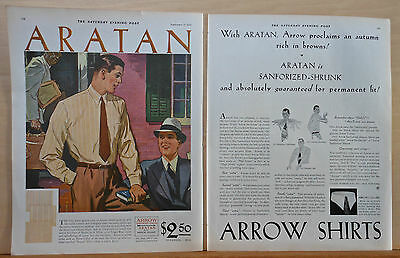 1930 two page magazine ad for Arrow Shirts - Aratan shirts Autumn rich in browns