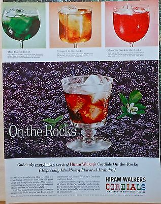 Vintage 1962 magazine ad for Hiram Walker's Cordials - recipes for 3 cocktails