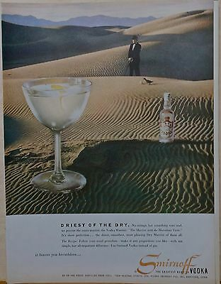 Vintage 1954 magazine ad for Smirnoff Vodka - Driest of the Dry - Vodka Martini
