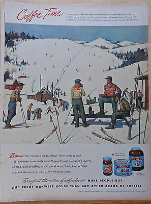 1949 magazine ad for Maxwell House Coffee - Skier on slopes scene by Paul Sample