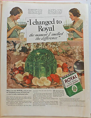 Vintage 1935 magazine ad for Royal Gelatin - Lime jello, Smell the difference!