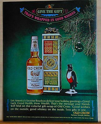 1965 magazine ad for Old Crow Whiskey - Christmas ad, Wrapped in Good Wishes