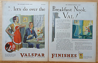 1930 two page magazine ad for Valspar Paint - Karl Godwin art - breakfast nook