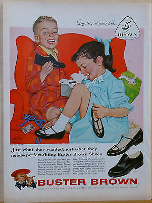 1958 magazine ad for Buster Brown Shoes - colorful art by Alex Ross of children