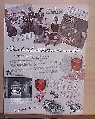 1940  magazine ad for California Wines - Clever hosts discovered it, Relax Enjoy