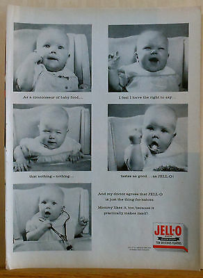 1956 magazine ad for Jell-O gelatin - Babies love Jell-O photo ad, Doctors agree