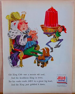 1956 magazine ad for Jell-O - Old King Cole, of nursery rhyme, orders Jell-O