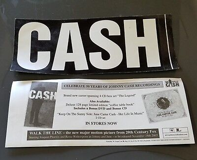 Johnny Cash CASH Bumper STICKER Celebrating 50 Years of Cash 2005 (2X) Stickers
