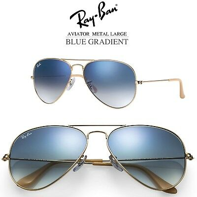 848b2b8fbd677 Authentic Ray-Ban Aviator Blue Gradient Gold Frame Sunglasses RB3025 001 3F