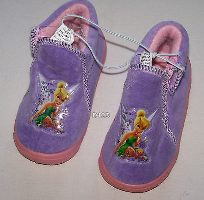 Disney Tinkerbell Girls Purple Pink Zip Slippers Size 7 New