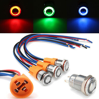 12V 24V 12mm Metal ON/OFF LED Power Push Button Switch Wiring Harness Car Boat
