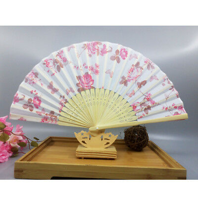 China Summer Peach Blossom Folding Hand Fan Fabric Floral Wedding Dance Favor
