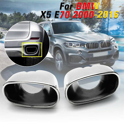 Pair Rear Stainless Steel Chrome Exhaust Muffler Dual Pipe Tip For BMW X5 E70 UK