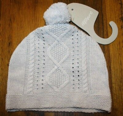 Purebaby Girls Cotton / Wool Rope Cable Knit Beanie.  Size Large. Bnwt