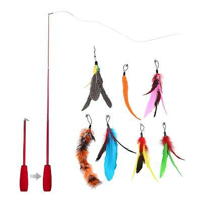 Cat Feather Teaser Wand Toys with 7 Refill Interchangeable Replacement Feathers
