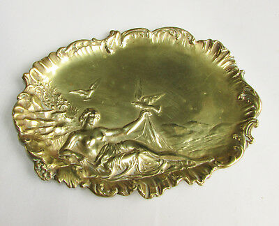 Old antique French Art Nouveau brass pin / ring tray