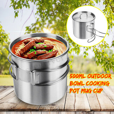 500ml Stainless Steel Outdoor Camping Cup Pot Backpacking Hiking Travel Cup