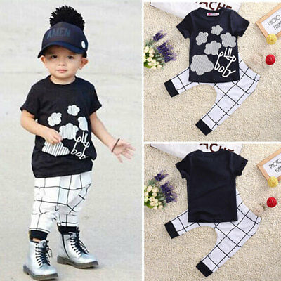 2pcs Newborn Toddler Kids Baby Boys Clothes T-shirt Tops +Pants Outfits Set AU