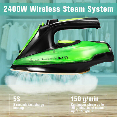 Cordless Steam Iron Clothes Ironing Charging Portable Soleplate Anti-drip 2400W