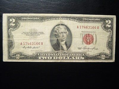 1953 Red Seal $2 U S Note, Thomas Jefferson/Monticello U S currency A17463166A